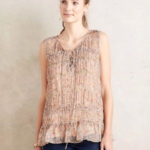 Anthropologie Floreat Calla Floral Lace Up Tank